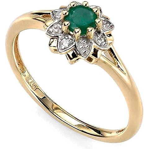 Mio gioiello – D429Git – anello smeraldo e diamante 0,024 caratos in oroo 375/1000.