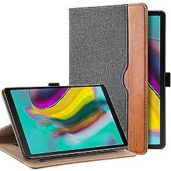 EasyAcc Leder Hülle für Samsung Galaxy Tab S5e T720/ T725, 360 Grad Drehung mit Stifthalter, Premium PU Leder, Multi-Winkel Standfunktion und Automatische Sleep/Wake Funktion Cover, Grau