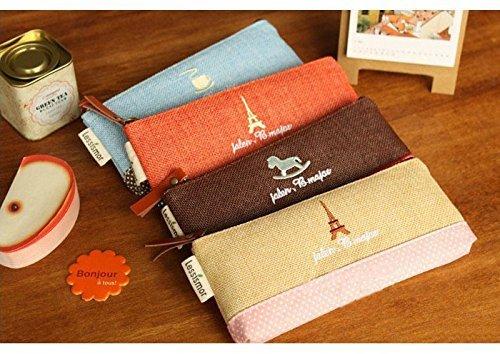 Imagen de generic naranja torre 2016nueva kawaii lino y algodón estuche para monedas monedero bolsa de almacenamiento organizador bolsa de cosméticos  envío gratuito 3002