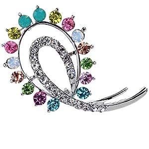 Make Me Closer tono d'argento cristallo variopinto Fiore Spilla Pin placcato oro per le donne ragazze di nozze