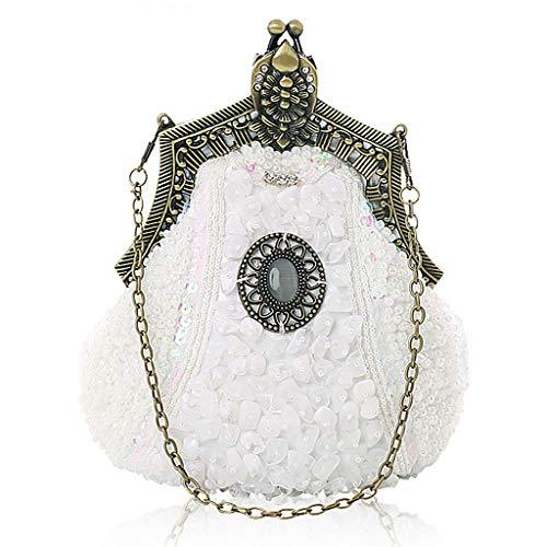 Tandou Damen Tasche Vintage Handtaschen Abendtasche Hochzeit Party (Weiß) -
