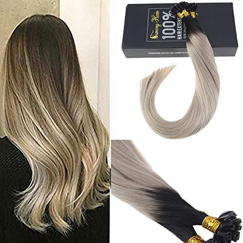 Sunny 35cm extension capelli veri cheratina ombre u-tip nero naturali al grigio cheratina capelli extension remy hair 1grammo x 50ciocche