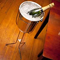 bar@drinkstuff Stainless Steel Champagne Bucket with Folding Stand Champagne & Wine Bucket with Stand