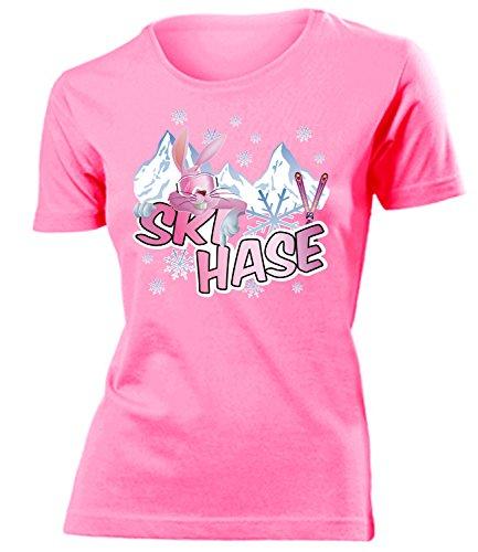 Kostüm Lady Single - Ski hase 4512 Apres Brille t Shirt Fan Artikel Frauen Clothes Women Mädchen Anzug Oberteil Be Kleidung Outfit Fleece Damen T-Shirts Pink S