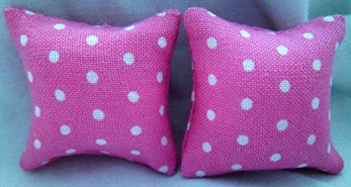 Ein-zwölfte Skala Puppen Haus Rosa Kissen mit weißen Flecken (Weiße Puppe-haus)