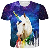 519fb8f241d5 RAISEVERN Hombres Manga Corta Verano Moda Unicorn Galaxy 3D Impreso  Divertido Gráficos Tops Ocio Deportes Hippie Camiseta