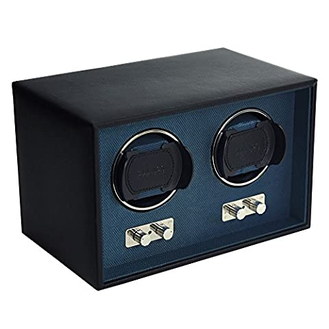 Dulwich Designs Double Black Genuine Leather Watch Winder with Blue Lining