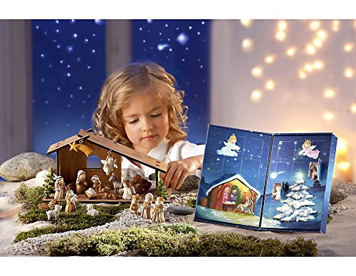 Krippe Adventskalender Krippe Figuren Weihnachtskrippe Weihnachten Krippenfiguren mit Holzstall