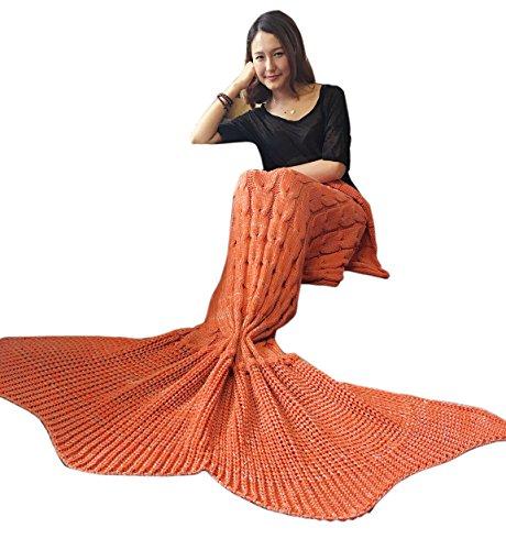 iEFiEL Meerjungfrau Fischschwanz Flosse Kuscheldecke Kuschelige Decken Handgemachte Gestrickte Sofadecke Tagesdecke Blanket Kostüm Decke Für Kinder Erwachsene (Erwachsene Größe, Orange)