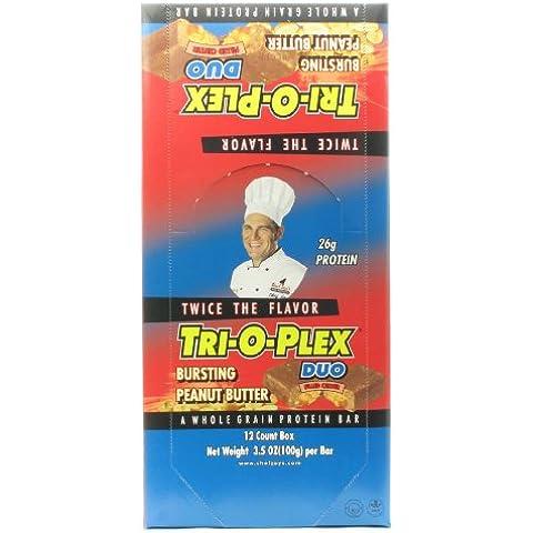 Chef Jay's Tri-O-Plex Duo High Protein Food Bar - Bursting Peanut Butter, 12 - 4.2 oz (118 g) Bars by Chef Jay's