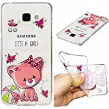 Ooboom® Samsung Galaxy A3 2016 Coque Transparent TPU Silicone Gel Housse Étui Protecteur Cover Case Souple Ultra Mince pour Samsung Galaxy A3 2016 - Chat Rose