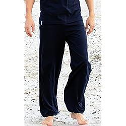 """Esparto Thanda Yoga Pantalones """"sitaara Hombre y–Boyfriend Style–Mujer en algodón orgánico, color azul oscuro, tamaño large"""