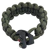 PSKOOK Pulsera de Cuerda Elástica Paracord de Supervivencia Ajustable con Ferro Rod Scraper Tactical EDC Pulsera (Ejercito Verde)
