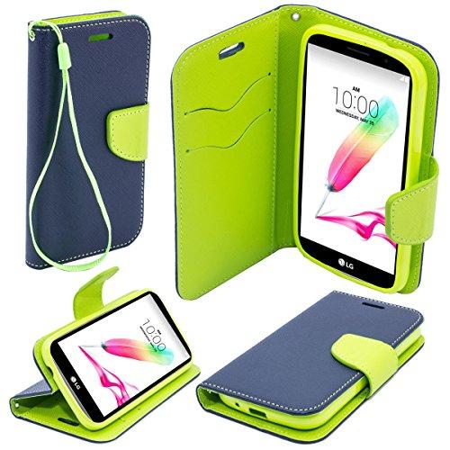 Moozy zweifarbige Fancy Tagebuch Buch Beutel Flip Handy Tasche mit Stand / Handschlaufe / Silikon Handyhalter für LG G4 Stylus, Blau / Hellgrün