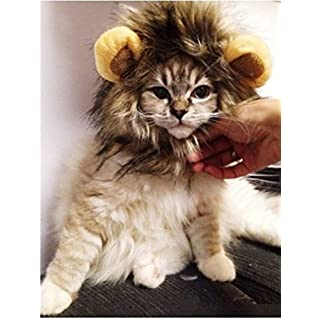 ALLtree Pet Costume Lion Mane Wig for Dog Cat Halloween Dress up with Ears