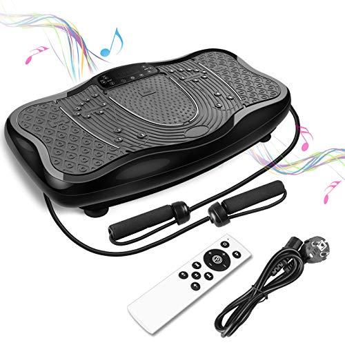 FITTIME Vibrationsplatt Fitness Profi Vibrationsgerät Trainingsgerät + LCD-Display + USB-Lautsprecher + 150(Schwarz)