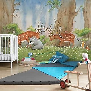 Apalis Kindertapeten Vliestapeten Wassili hilft den Hirschen Fototapete Breit   Vlies Tapete Wandtapete Wandbild Foto 3D Fototapete für Schlafzimmer Wohnzimmer Küche   mehrfarbig, 94856