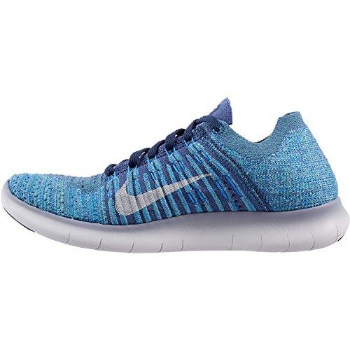 Nike Wmns Free Rn Flyknit, Scarpe da Corsa Donna Ocean Fog/White-blue Glow