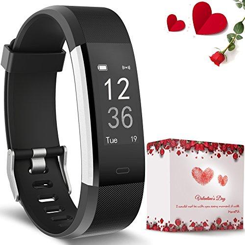 Herzfrequenz-Monitor, moreFit Slim HR Plus Wasserdicht Pulsuhren Fitness Uhr Aktivitäts-Tracker Tragbares GPS Schrittzähler Smart Armband Weihnachtsgeschenke Für Kinder Damen Männer (Valentinstag Geschenkverpackung)