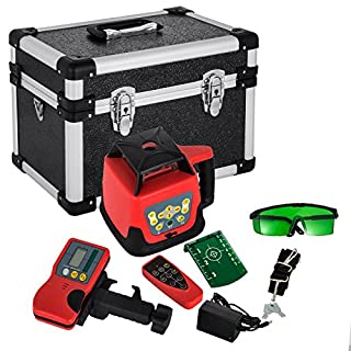 FORAVER Rotary Laser Level Green Beam Self Leveling Measuring Automatic Rotating Laser Level with Receiver Remote Control Carrying Case(Green Laser Level)