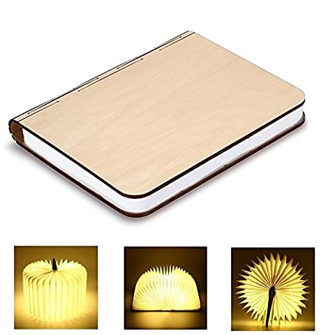 Bestland Wooden Foldable LED Nightlight Book Style Rechargeable Folding Desk Lamp Table Lamp USB Book Lamp Decorative /Mood/Night Lights (Warm White)