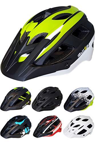 Skullcap Fahrradhelm  MTB Helm  Mountainbike Helm  Herren & Damen  Schwarz/Neon-Grün matt  Visier/Helmschild (Viper-Green, L)