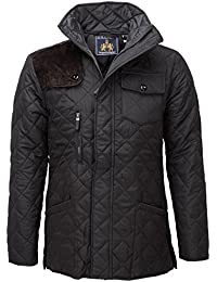 SoulStar Mens Diamond Quilted Padded Cord Patch Jacket