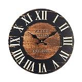 Rebecca Mobili RE6152 Parete Grande, Orologi a Muro, MDF, Marrone Nero, Rotondo, Stile Industriale, 33.8x4x33.8 cm