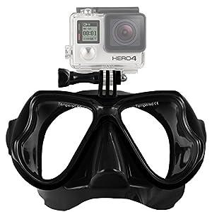 Aokon GoPro Hero4/hero3 +/3 SJ sesión mutli-function - Máscara de buceo gafas para buceo y Snorkeling (Negro)