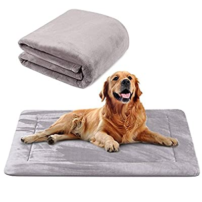 Dog Bed Mat Large Soft Crate Pad - 100% Machine Washable Luxury Anti-Slip Mattress Rich Color