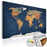 murando - Weltkarte Pinnwand 120x80 cm - Bilder mit Kork Rückwand - 1 teilig - Leinwandbilder - Korktafel - Fertig Aufgespannt - Wandbilder XXL - Kunstdrucke - Karte Welt Landkarte Kontinent k-C-0048-p-b