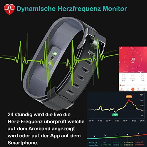 YAMAY Fitness Tracker,Wasserdicht IP68 Fitness Armband 0,96 Zoll Farbbildschirm Smartwatch Aktivitätstracker Pulsuhren Schrittzaehler Uhr Smart Watch Fitnessuhr für Damen Herren mit Schlafmonitor Kalorienzähler Vibrationsalarm Anruf SMS Whatsapp Beachten für iPhone Android Handy(Schwarz) - 3