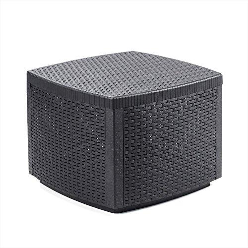 Mojawo Kunststoff Beistelltisch Rattan Design - mit Aufbewahrungsfach - Gartentisch - Balkonmöbel aus Kunststoff - 53x53x40cm