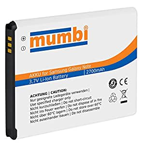 mumbi Batterie de remplacement pour Samsung Galaxy Note N7000 2700mAh (import Allemagne)