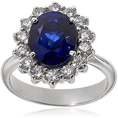 Gioiello Italiano - Anello in oro bianco con diamanti e zaffiro - Anello Fatto A Mano In Oro