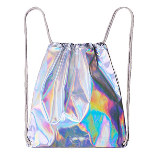 Tinksky Laser Sackpack Drawstring Rucksack Hologramm Umhängetasche Geschenk für Frauen Mädchen -