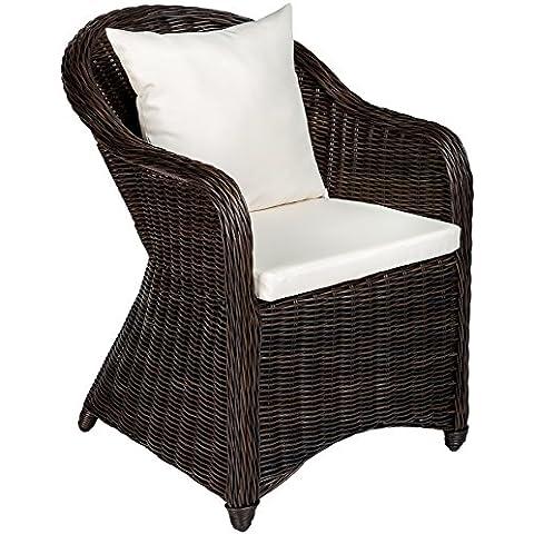 TecTake Aluminio silla de jardín sillón sofa de mimbre poliratán terraza con 2 cojínes