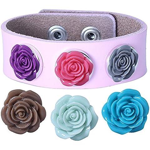 Soleebee PU brazaletes de color rosa de experiencia 6 Rose aleatoria diamantes de imitación Snap mezclaron los botones