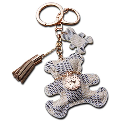 Luxus-leder-taschen (Teddy Bear Schlüsselanhänger Große Luxus Tasche Geldbörse Charm Nettes Geschenk PU Leder Telefon Anhänger für Frauen Mädchen Handtasche Schlüsselanhänger Charms)