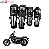 #2: AllExtreme Knee Shin Guards Adult Alloy Steel Knee Pads Protector Flexible Breathable Adjustable Elbow Armor for Motorcycle Motocross Racing Mountain Bike One size Fits Most 4 Pieces Black