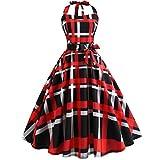 VEMOW Elegante Damen Bowknot Abendkleider Vintage Bodycon Sleeveless Halter beiläufige Tägliche Abend Party Prom Swing A-Linie Kleid Schulterfrei Faltenrock Cocktailkleider(Rot, EU-38/CN-M)