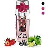 CampTeck 1 Litre 100ml Bouteille à Infusion (Sans BPA Plastique Tritan) Gourde Infuser Fruit avec Couvercle Antifuite + Boucle lock & Poignée de transport - Rose