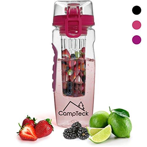 CampTeck 1 Liter 1000ml Trinkflasche Fruchtschorlen Infuser Wasserflasche (BPA-freier Tritan Kunststoff) mit auslaufsicherem Deckel + Verschluss & Tragehenkel - Pink Frucht-center