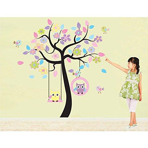 Sypure (TM) Lovely Couple de dessin animé mignon Chouette Arbre Swing coloré amovible Stickers muraux DIY papier peint mural pour enfants Chambre Chambre à coucher