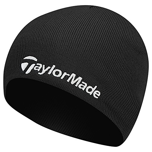 TaylorMade 2017 Thermal Fleece Beanie Double Knitted Mens Golf Hat Black