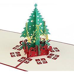 NUOLUX Cartolina d'auguri di Natale, 3D pop-up dell'albero di Natale carta Handcraft (rosso)