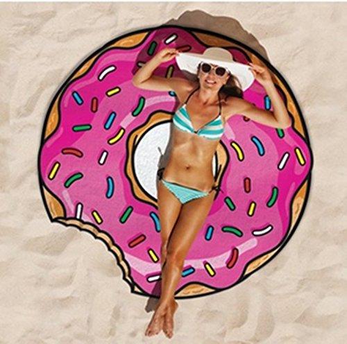 Tukistore Couverture ronde de serviette de plage, Grande microfibre circulaire et mousseline plage Cercle rond Tapis pique-nique Tapis de yoga