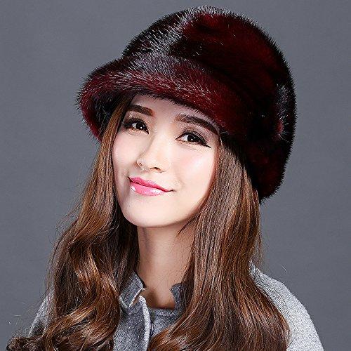 feieb Bavaglia sciarpa invernale consolidamento Stingrays Acqua calda pelliccia cappelli in pelle cappello di paglia bambini cappelli di visone, S53-55cm, vino rosso