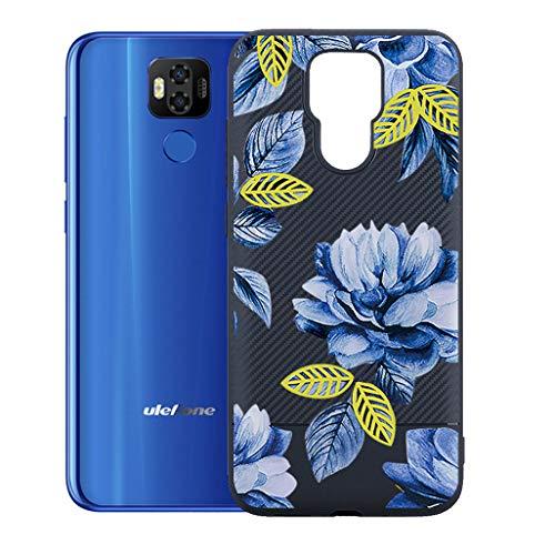 "ZXLZKQ Custodia Fiore Blu per Ulefone Power 6 (6.3"") Cover, Protezione Posteriore Morbido Silicone Trasparente Gel TPU Cover Slim Case per Ulefone Power 6 (6.3"")."