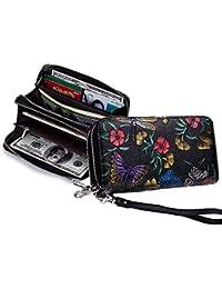 711abfa1e0aec Geldbörse Damen Leder Portemonnaie Damen Gross Rose mit Ethno Blumen und  Blüten Muster